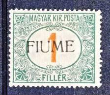 Fiume 1918-19 Tasse D'Ungheria Soprastampato N. 4 F.1 Verde E Rosso MH Timbrini Di Garanzia Cat. € 225 - Fiume