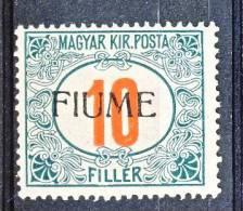 Fiume 1918-19 Tasse D'Ungheria Soprastampato  N. 8. F. 10 Verde E Rosso MH Cat. € 150 - Fiume