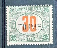 Fiume 1918-19 Tasse D'Ungheria Soprastampato N. 12 F.30 Verde E Rosso MH Firma BIONDI + Timbri Garanzia Cat. € 2000 - Fiume
