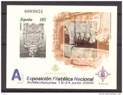 ESPO72-L2158TAESC. España .PRUEBA OFICIAL 72.Exposicion Filatelica. EXFILNA 2000. AVILES. (Ed 72) LUJO - Escultura