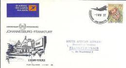 SOUTH AFRICA AIRWAYS 1977 Cover 23b JHB-Frankfurt F2230 - Airplanes
