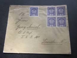 1923  Autriche Osstereich Cover Letter Brief Lettre Recommandé 69 Pour Dresden - 1918-1945 1. Republik