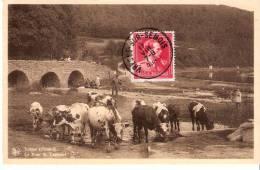 Vresse-sur-Semois-1945-Pont St Lambert-Belle Animation(Laveuses ,faucheur,vaches)-Pub.Hôtel De La Dîme (voir Scan) - Vresse-sur-Semois