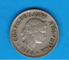 SUIZA - SWITZERLAND - 5  Rappen  1944  KM26 - Suiza