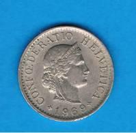 SUIZA - SWITZERLAND - 5  Rappen  1969  KM26 - Suiza
