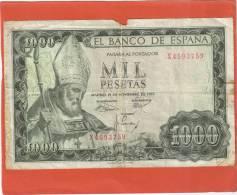 ESPAGNE ESPANA 1000 PESETAS 1965 N° X4593759 - [ 3] 1936-1975 : Régence De Franco