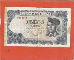 ESPAGNE ESPANA 500 PESETAS 1971 N° F1636711 - [ 3] 1936-1975 : Regency Of Franco