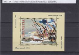 Peinture - Loups - Suisse - Bloc De 1996 ** - MNH - Remis Avec Album Annuel De 1996 - Blocks & Kleinbögen