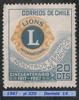 1967 - Amérique Du Sud - Chili - Lions International - 20 C. Bleu-vert Et Jaune - - Rotary, Lions Club