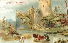 Chromos Réf. B444. Chocolat D´Aigubelle - Chateau, Vache, Eau, Paysage - Aiguebelle