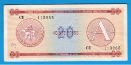 CUBA -  20 Pesos  ND  Circulada   A - FX5  Serie CE - Cuba