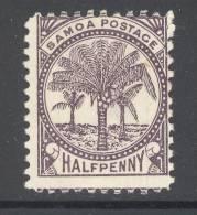 SAMOA, 1886 ½d Black-purple (P11,SG57b) Unused No Gum - Samoa