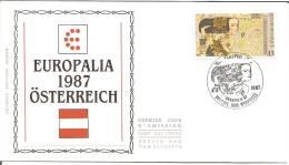 België    FDC   Zijde   2247      Europalia 87   Oostenrijk      Brussel - Bruxelles - FDC