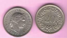 SUIZA - SWITZERLAND - SUISSE -  20 Rappen 1970  KM29 - Suiza