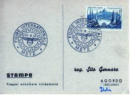 178 FRANCIA - CARTONCINO FDC - 29.09-1958 - METZ - FOIRE INTERNATIONALE - 1950-1959