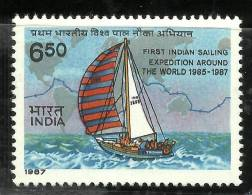 INDIA, 1987, Yacht Trishna, 1st Indian Army Circumnavigation Of The World, Sailing Expedition MNH, (**) - Ships