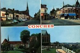 CPSM   (27)         CONCHES  -   Multivues  Dont La Rue Aristide Briand, Rue Ste-Foy Ect.... - Conches-en-Ouche