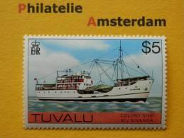 Tuvalu 1976, WITH WATERMARK / NIVANGA / SHIPS BATEAUX SCHEPEN SCHIFFE NAVI NAVES: Mi 37, Type X, ** - Tuvalu