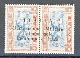 Occ. Italiane Cefalonia E Itaca 1941 N . 11  Coppia 5 + 5 L Bruno E Azzurro MNH Firmato BIONDI - Cefalonia & Itaca