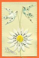 """CPA  Fantaisie A Ajouts De Chromos Et Tissu  """"   Souvenir Affectueux  """" Carte Precurseur -colombes - Fancy Cards"""