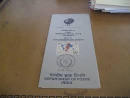 Document D'information Sans Timbre Inde (New Delhi)  Annee Internationale De La Paix, Peace, Pax, Paz, Pace 1986 - Sellos