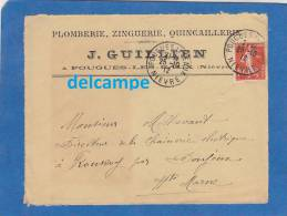 - 1912 - Cachet Postal De POUGUES LES EAUX ( Niévre ) - Maison J. GUILLIEN - Plomberie - Marcophilie (Lettres)