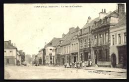 CPA ANCIENNE- FRANCE- PERNES-EN-ARTOIS (62)- LA RUE DE CAMBLAIN EN GROS PLAN AVEC BELLE ANIMATION- COMMERCES- PHARMACIE - Frankreich