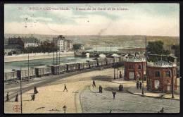 CPA ANCIENNE- FRANCE- BOULOGNE-SUR-MER (62)- PLACE DE LA GARE ET LA LIANE- TRAIN EN GROS PLAN- PONT- BELLE ANIMATION - Boulogne Sur Mer