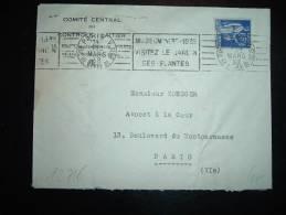 LETTRE TP PAIX 65C OBL.MEC. 14 MARS 38 PARIS V (75) MUSEUM 1635 - 1935 - Marcophilie (Lettres)