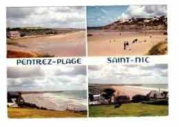 29 Saint Nic Pentrez Plage , Cpsm 4 Vues , à L'extrémité De La Lieue De Greve, La Plage Avec Ses Falaises - Other Municipalities