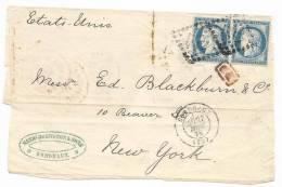"""- Lettre - GIRONDE - BORDEAUX - GC.532 S/paire Du TP N°60 + """"PD"""" Rouge + Càd T.17 1875 - 1871-1875 Ceres"""