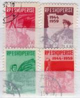 Berufe Jahrestag Befreiung 1959 Albania 582/5 O 12€ Bergmann Soldat Bäuerin Wissenschaftl History Set Albanien Shqiperia - Albanie