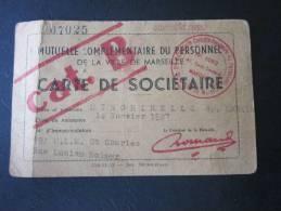 Carte De La Mutuelle Complémentaire Du Personnel De La Ville De Marseille (cartes De Sociétaires 14 Janvier 1927 Corsica - Mapas