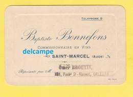 - SAINT MARCEL ( Aude ) - Baptiste BONNEFONS Commissionnaire En Vins - - Visiting Cards