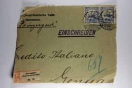 Deutsch-Ostafrica: Front Of Registered Cover Daressalam To Genua Italy, 2x 15 H, 1907, Deutsche-Ostafrikanische Bank - Kolonie: Deutsch-Ostafrika