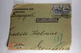 Deutsch-Ostafrica: Front Of Registered Cover Daressalam To Genua Italy, 2x 15 H, 1907, Deutsche-Ostafrikanische Bank