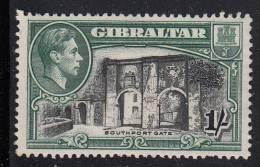 Gibraltar MH Scott #114b 1sh Southport Gate, Perf 13 1/2  - George VI - Gibraltar