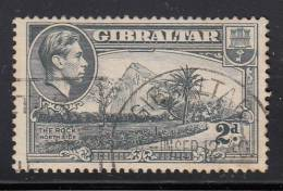 Gibraltar Used Scott #110d 2p The Rock, Northside, Perf 13 1/2, Watermark Sideways  - George VI - Gibraltar