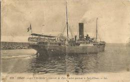 CPA-1920-PAQUEBOT-MEDJERDA-COURRIER-DE PORT VENDRES QUITTANT PORT D ORAN-ETATMOYEN - Paquebots
