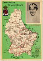 Luxembourg Map, S.A.R. La G-D Charlotte Royalty , C1950s Vintage Postcard - Unclassified
