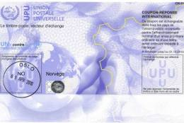 Norway 2010 Mint International Reply Coupon Réponse UPU With Hologram, Globe Hand