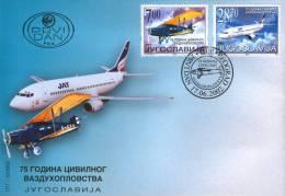 Yugoslavia, 2002, 75th Anniv. Of Civil Aviation, FDC - FDC