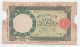 "Italian East Africa 50 Lire 1939 ""aVG"" RARE Banknote P 1b - [ 6] Kolonies"