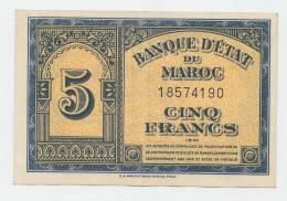 MOROCCO 5 Francs 1943 XF P 24 - Morocco
