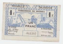 New Caledonia 1 Franc 1943 VF+ CRISP Banknote P 55b 55 B - Nouméa (Nieuw-Caledonië 1873-1985)