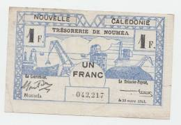 New Caledonia 1 Franc 1943 VF+ CRISP Banknote P 55b 55 B - Nouvelle-Calédonie 1873-1985