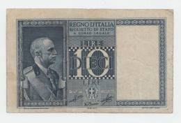"ITALY 10 Lire 1939 ""F"" P 25c 25 C - [ 1] …-1946 : Koninkrijk"