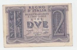 Italy 2 Lire 1939 VF WWII P 27 - [ 1] …-1946 : Koninkrijk