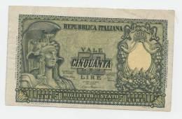 ITALY 50 Lire 1951 VF+ P 91b 91 B - [ 2] 1946-… : Repubblica