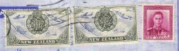 NEW ZEALAND 1947, Falt-Brief Mit Sehr Schöner 3 Fach Frankierung - 1907-1947 Dominion